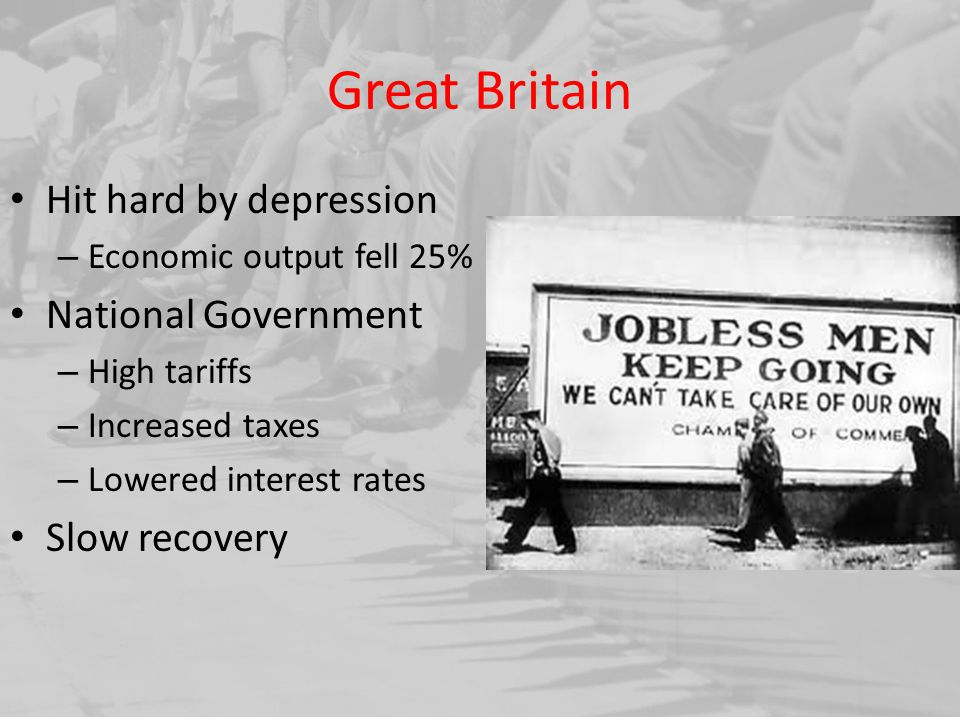 Great Britain Hit hard by depression National Government Slow recovery