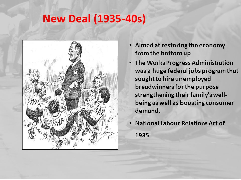 New Deal (1935-40s) Aimed at restoring the economy from the bottom up