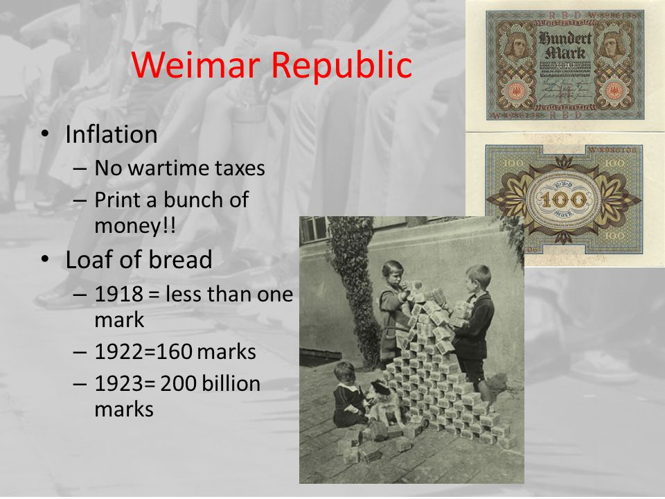 Weimar Republic Inflation Loaf of bread No wartime taxes