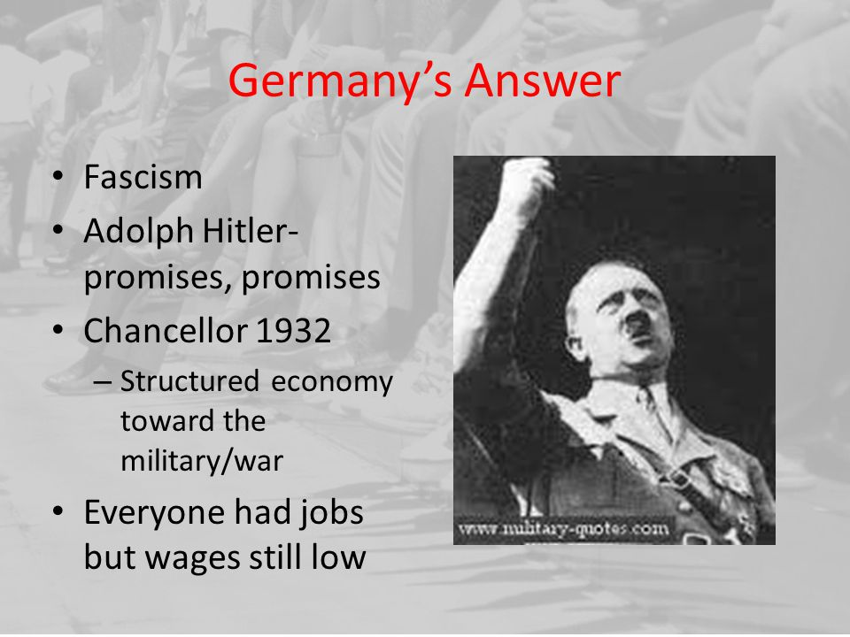 Germany's Answer Fascism Adolph Hitler- promises, promises