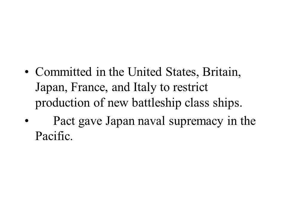 Committed in the United States, Britain, Japan, France, and Italy to restrict production of new battleship class ships.