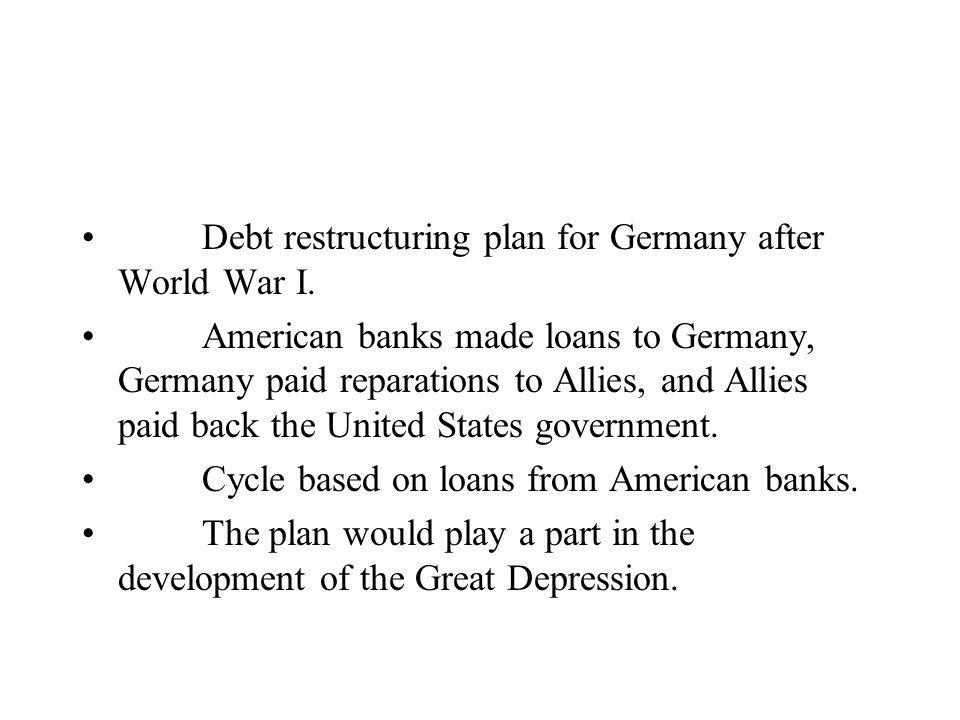 Debt restructuring plan for Germany after World War I.
