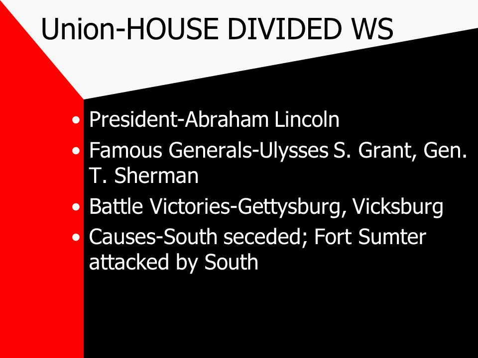 Union-HOUSE DIVIDED WS