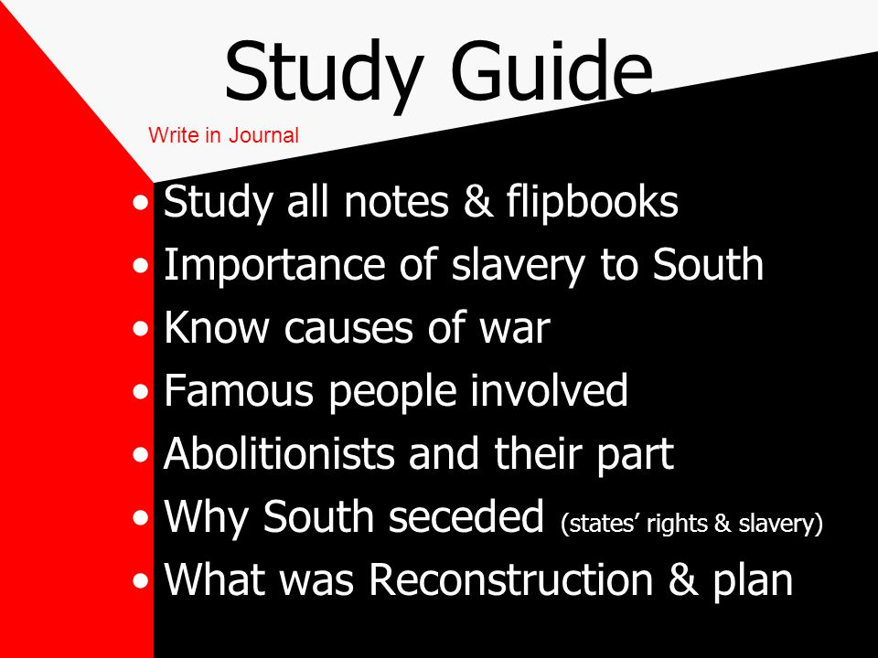Study Guide Study all notes & flipbooks Importance of slavery to South