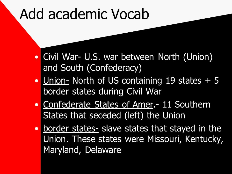 Add academic Vocab Civil War- U.S. war between North (Union) and South (Confederacy)