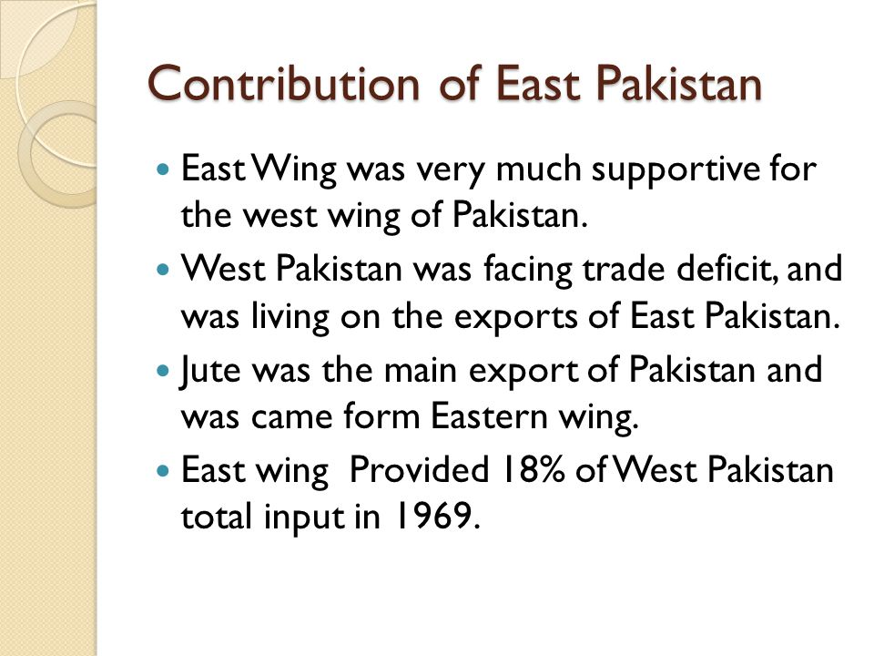 Contribution of East Pakistan