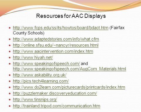 Resources for AAC Displays
