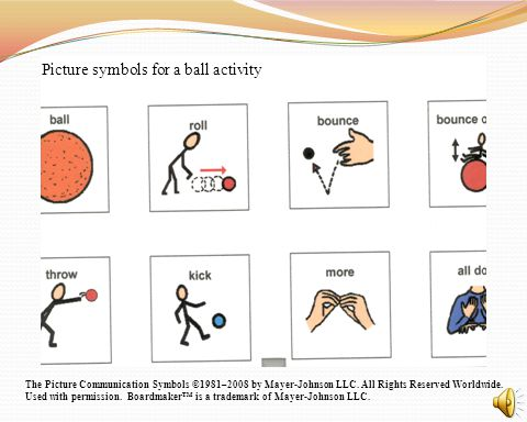 Picture symbols for a ball activity