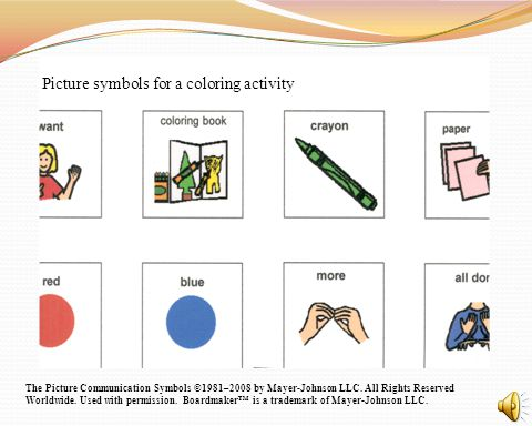 Picture symbols for a coloring activity