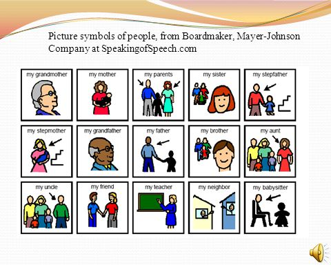 Picture symbols of people, from Boardmaker, Mayer-Johnson