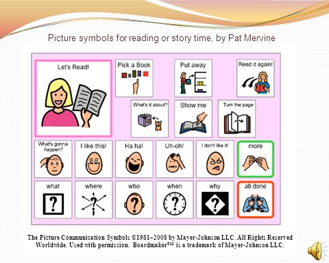 Picture symbols for reading or story time, by Pat Mervine