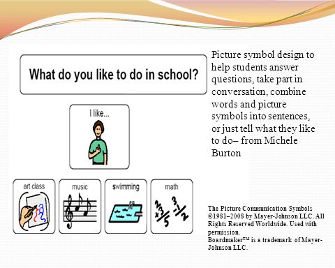 Picture symbol design to help students answer questions, take part in conversation, combine words and picture symbols into sentences, or just tell what they like to do– from Michele Burton