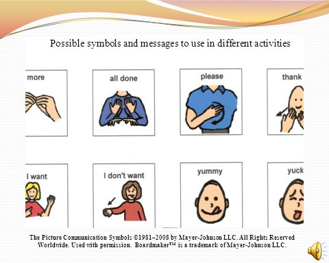 Possible symbols and messages to use in different activities