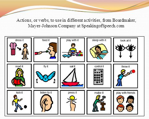 Actions, or verbs, to use in different activities, from Boardmaker, Mayer-Johnson Company at SpeakingofSpeech.com