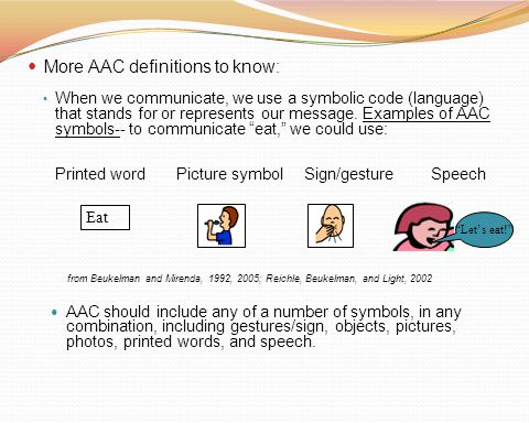 More AAC definitions to know: