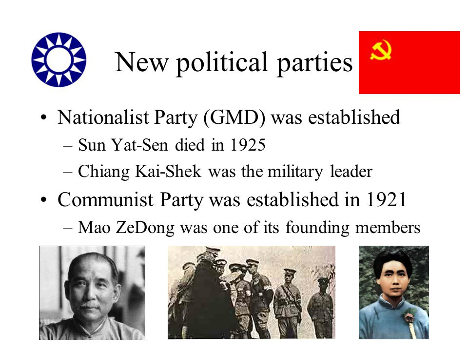 New political parties Nationalist Party (GMD) was established