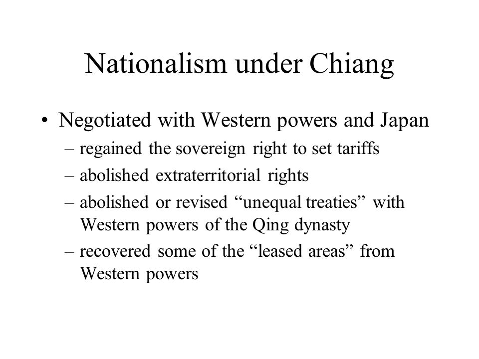 Nationalism under Chiang