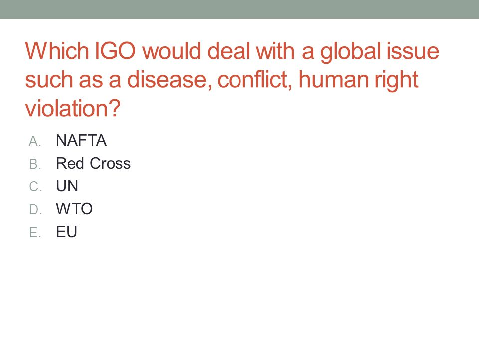 Which IGO would deal with a global issue such as a disease, conflict, human right violation