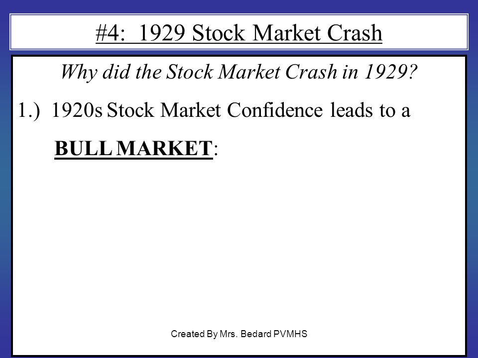 #4: 1929 Stock Market Crash Why did the Stock Market Crash in 1929