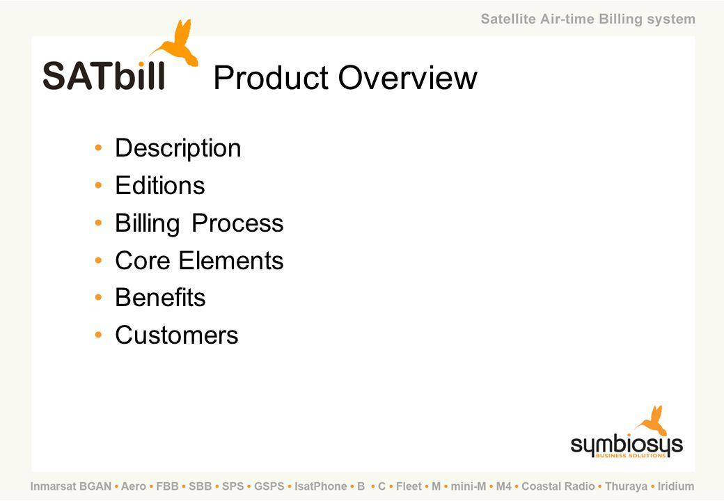 Product Overview Description Editions Billing Process Core Elements