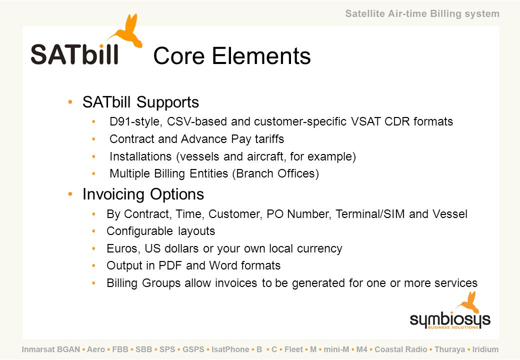 Core Elements SATbill Supports Invoicing Options