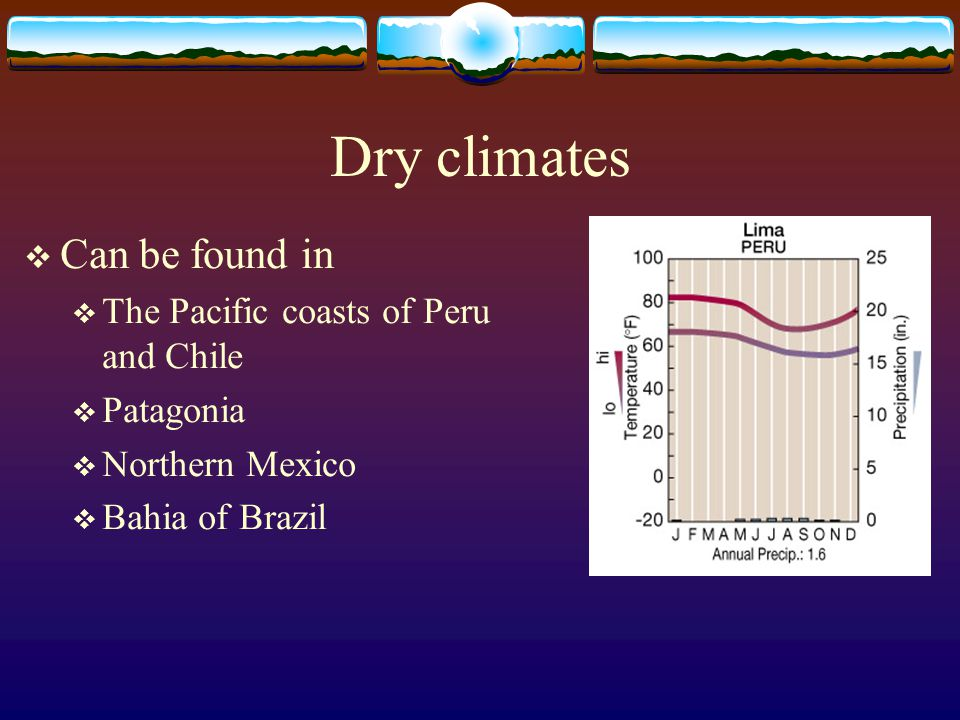 Dry climates Can be found in The Pacific coasts of Peru and Chile