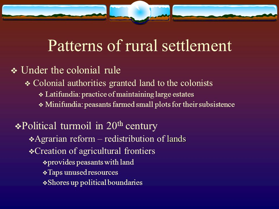Patterns of rural settlement