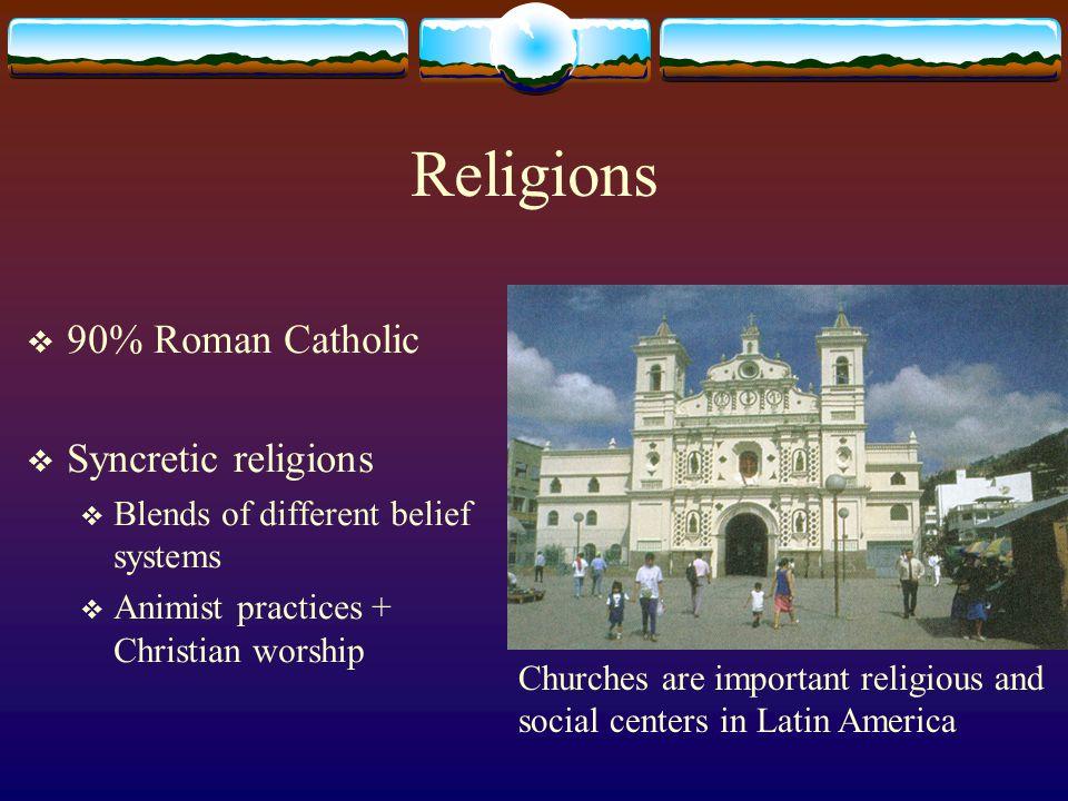 Religions 90% Roman Catholic Syncretic religions