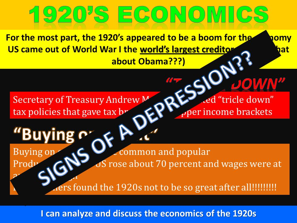 1920's economics SIGNS OF A DEPRESSION Buying on Credit
