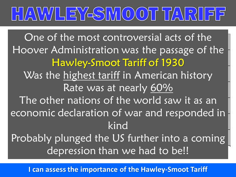 I can assess the importance of the Hawley-Smoot Tariff