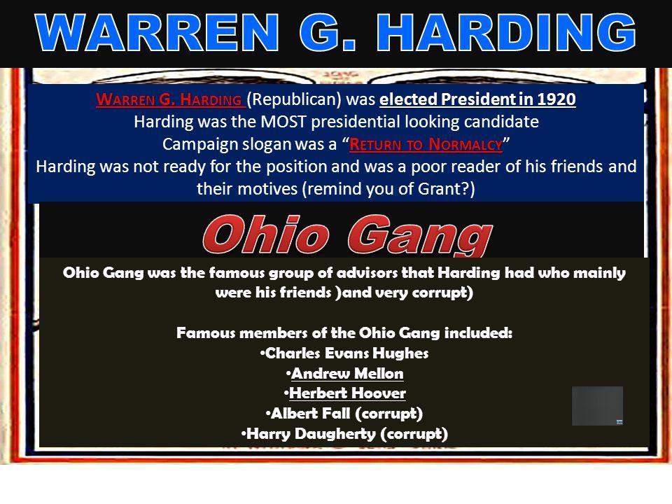 WARREN G. HARDING Ohio Gang
