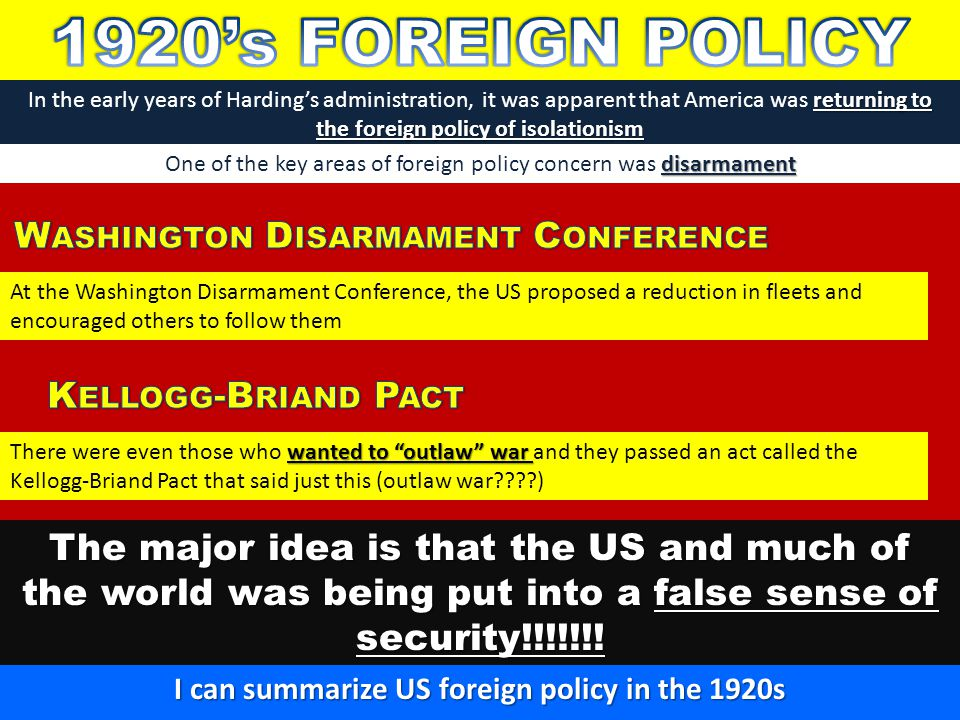 1920's FOREIGN POLICY Washington Disarmament Conference