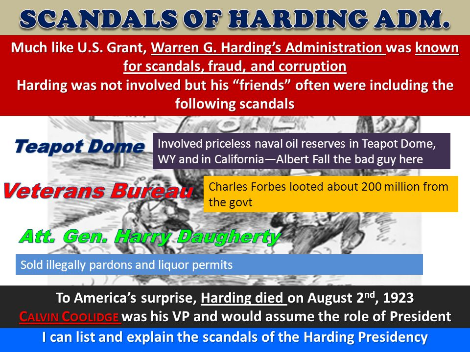 SCANDALS OF HARDING ADM.