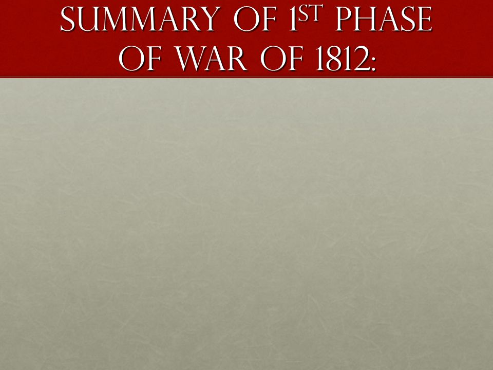 SUMMARY OF 1ST PHASE OF WAR OF 1812: