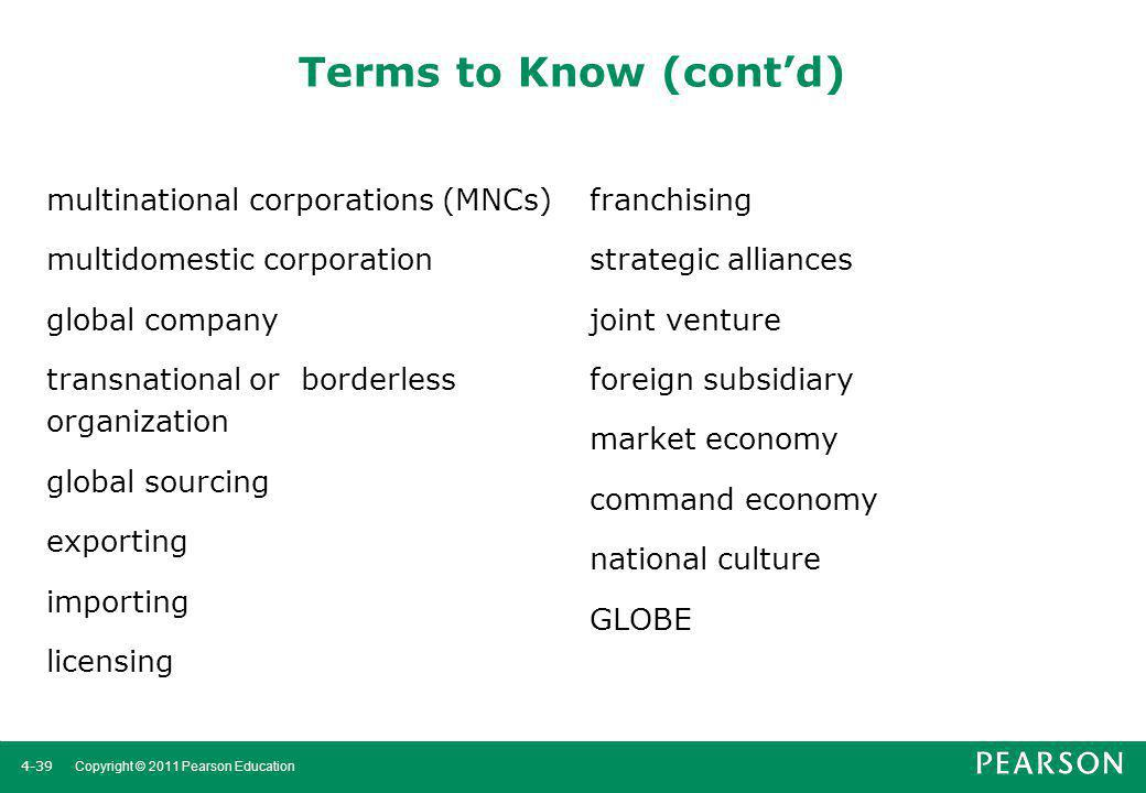Terms to Know (cont'd) multinational corporations (MNCs) franchising
