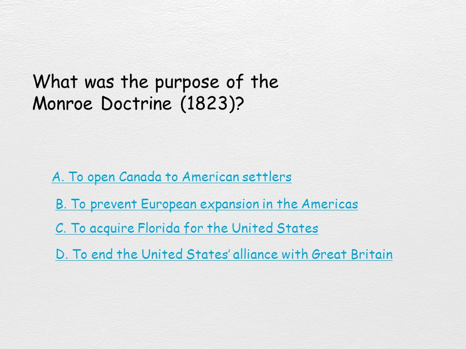 What was the purpose of the Monroe Doctrine (1823)