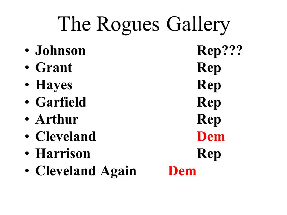 The Rogues Gallery Johnson Rep Grant Rep Hayes Rep Garfield Rep