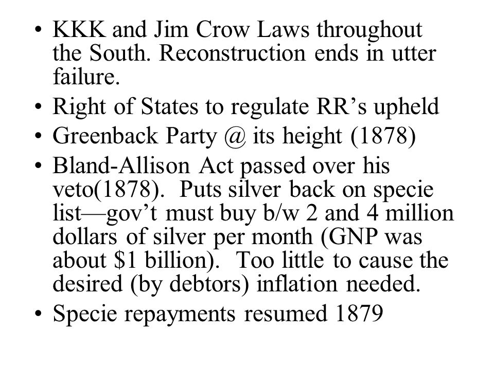 KKK and Jim Crow Laws throughout the South