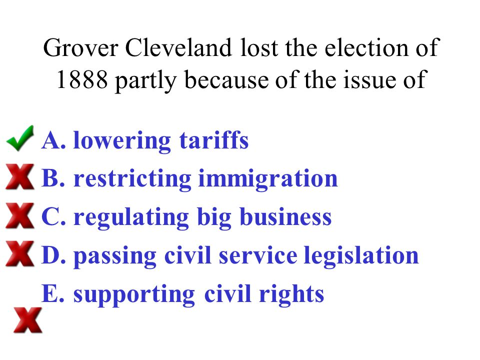 Grover Cleveland lost the election of 1888 partly because of the issue of
