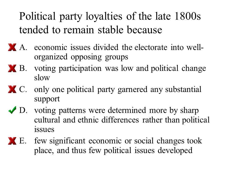 Political party loyalties of the late 1800s tended to remain stable because