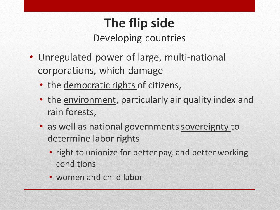 The flip side Developing countries