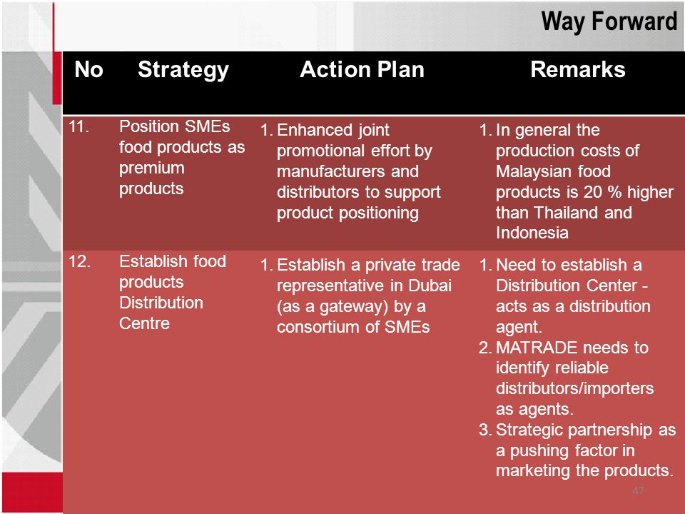 Way Forward No Strategy Action Plan Remarks 11.
