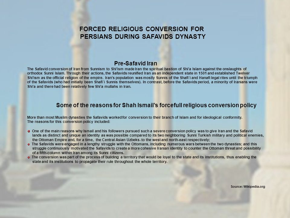 FORCED RELIGIOUS CONVERSION FOR PERSIANS DURING SAFAVIDS DYNASTY