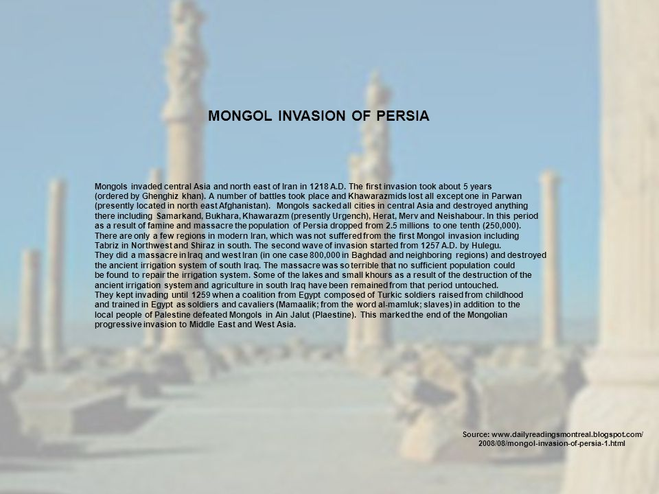 MONGOL INVASION OF PERSIA