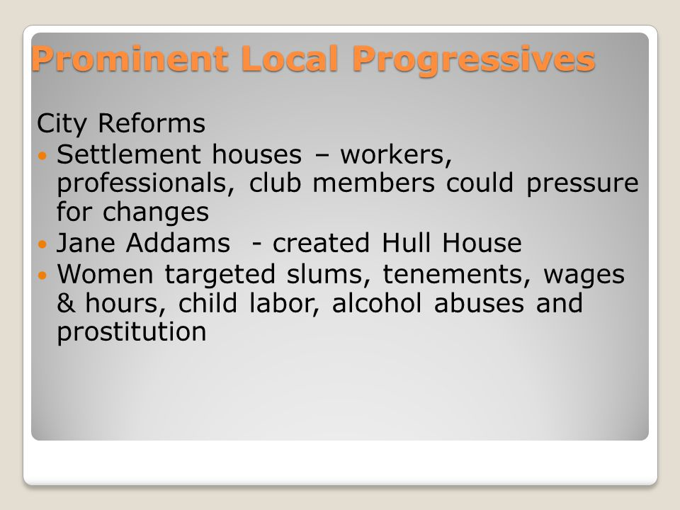 Prominent Local Progressives