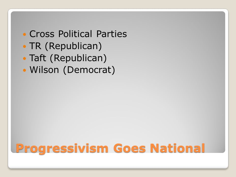 Progressivism Goes National