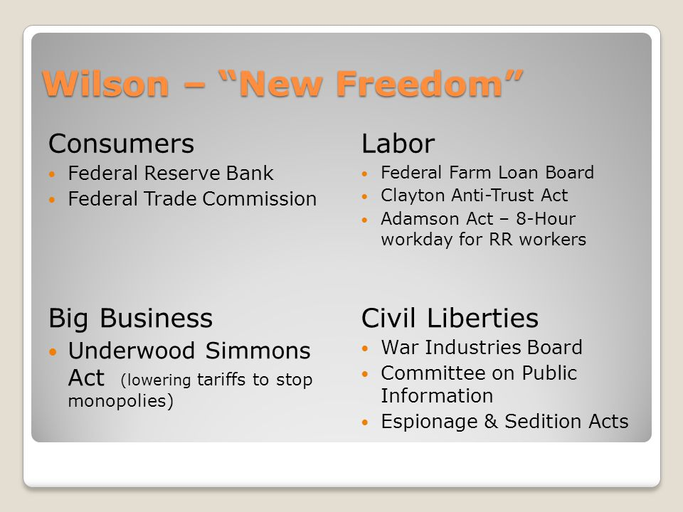 Wilson – New Freedom Consumers Labor Big Business Civil Liberties