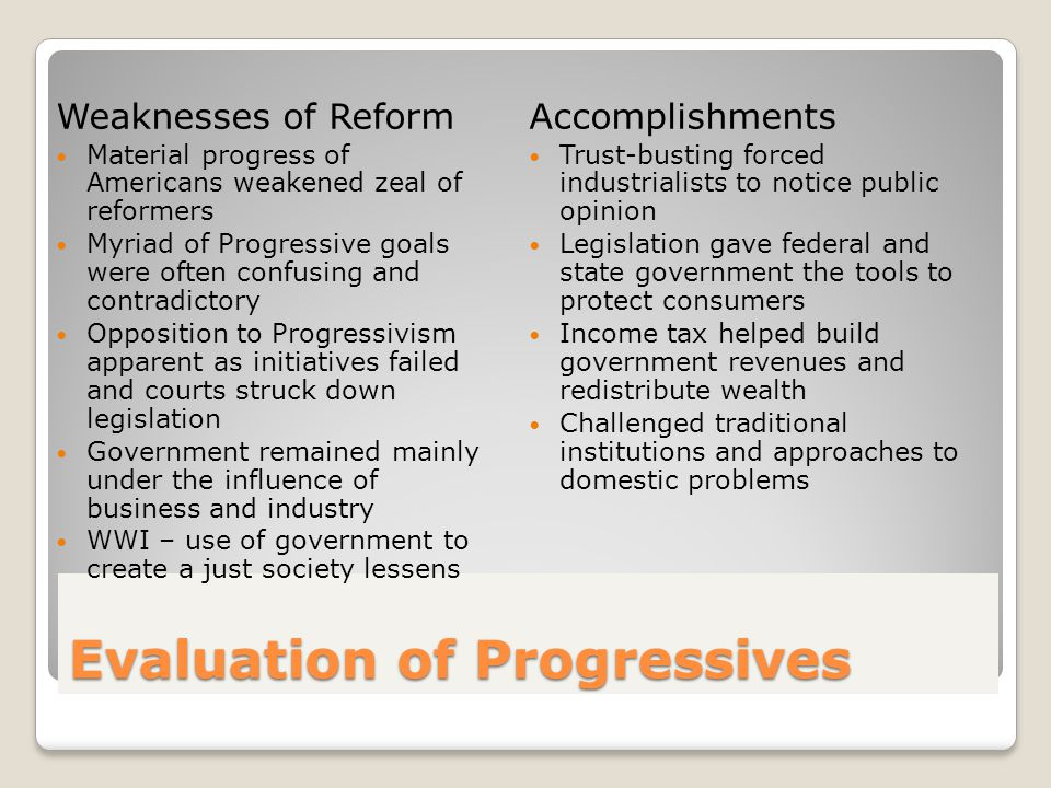 Evaluation of Progressives