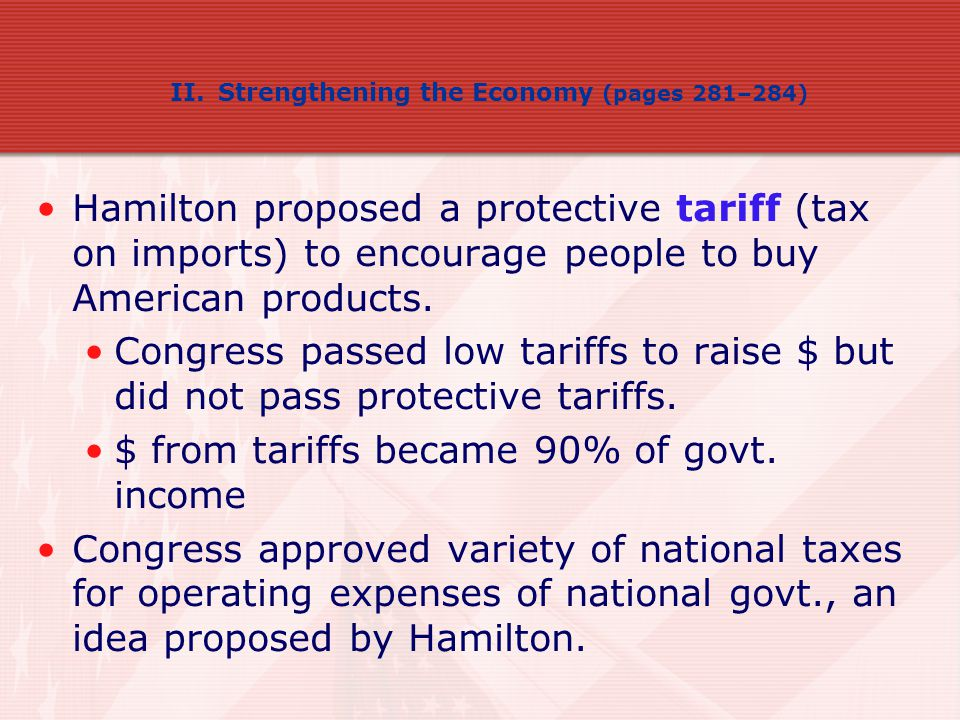 $ from tariffs became 90% of govt. income