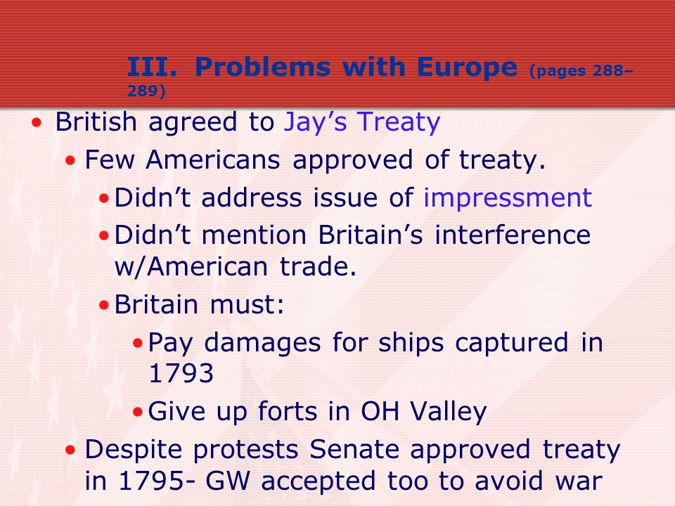III. Problems with Europe (pages 288–289)